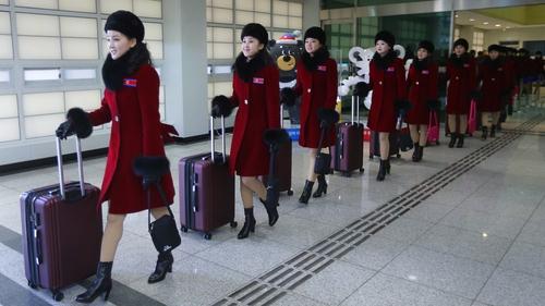 A North Korean delegation arrive in South Korea for the games