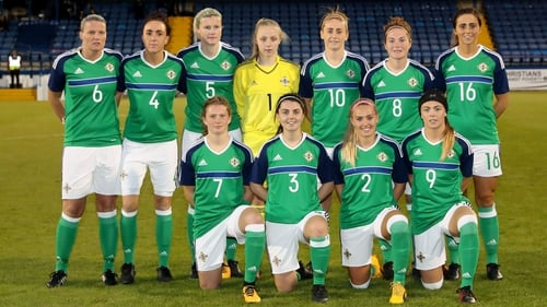 The Northern Ireland women's team before their Wolrd Cup qualifier against the Republic of Ireland last September