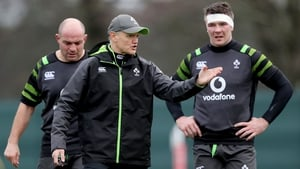 Joe Schmidt with Rory Best and Peter O'Mahony at team training