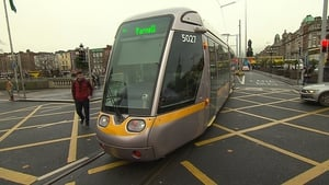 Tram failed to clear the junction on O'Connell Bridge blocking other road users