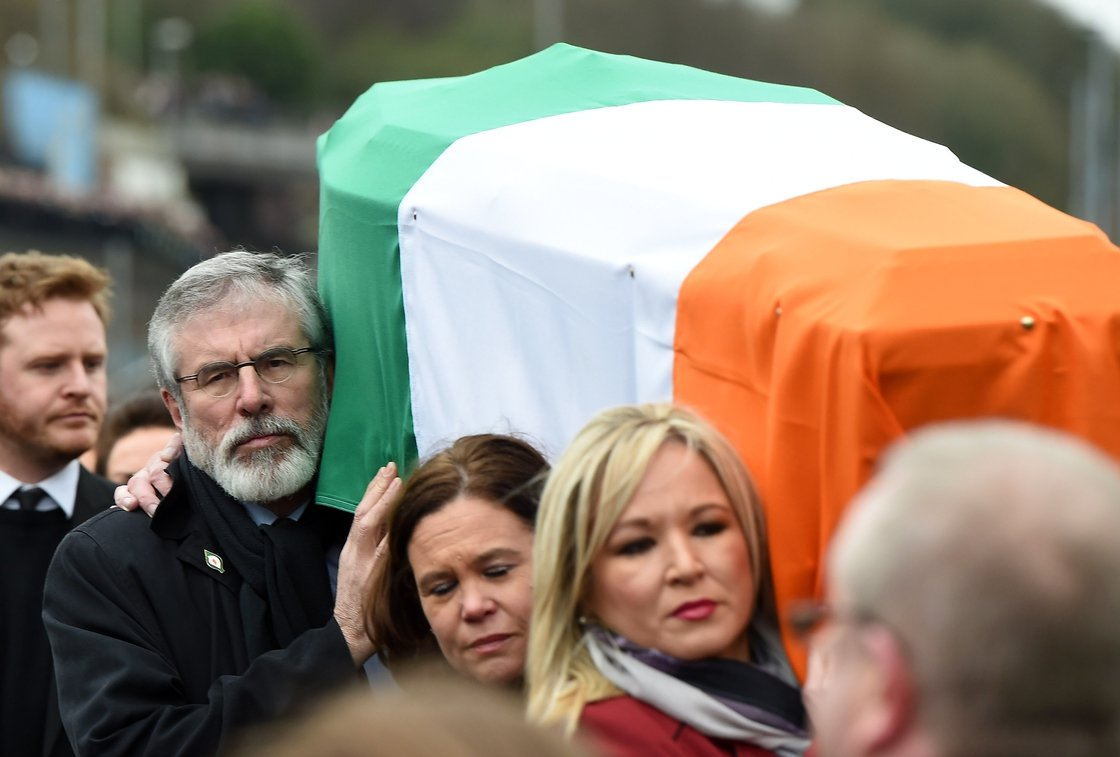 Image - Gerry Adams carries the coffin at Martin McGuinness' funeral