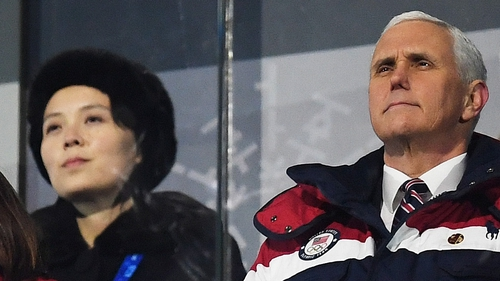 US Vice President Mike Pence was seated in the row in front of Kim Yo-jong
