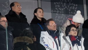Kim Yo-jong (back row, right) and South Korean president Moon Jae-in (front row centre) a the opening ceremony of the Winter Olympics