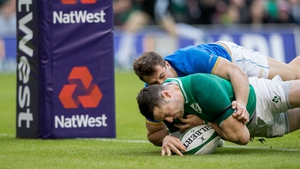 Robbie Henshaw was injured in scoring his second try against Italy