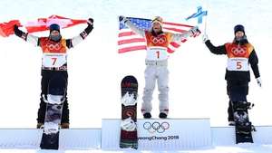 (L to R): Silver medalist Laurie Blouin of Canada, gold medalist Jamie Anderson of the United States and bronze medalist Enni Rukajarvi of Finland.
