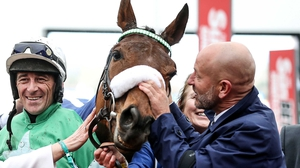 Davy Russell (L) and owner Philip Reynolds celebrate his victory aboard Presenting Percy at last year's Cheltenham Festival