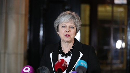 British Prime Minister Theresa May speaking to reporters at Stormont this evening