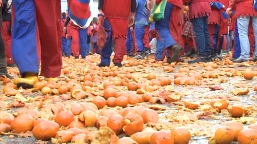 Up to 500 tonnes of oranges are used in the festival