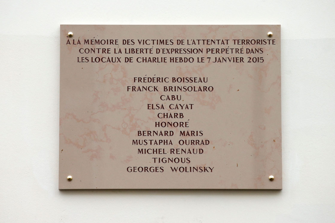 Image - A commemorative plaque outside the former offices of French weekly satirical newspaper Charlie Hebdo
