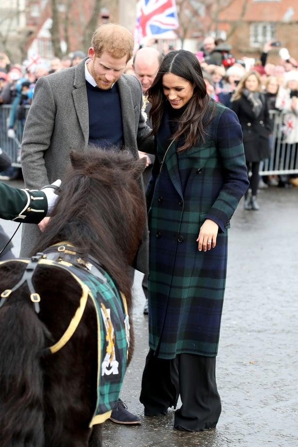 Prince Harry and Meghan Markle greet a pony as they arrive to Edinburgh Castle