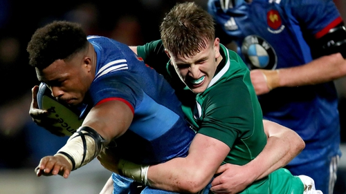France's Hassane Kolingar is tackled by Cormac Daly in the U20s Six Nations tussle earlier this month