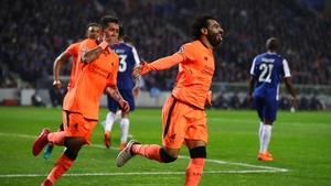 Mo Salah celebrates his goal against porto