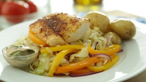 Chilli Cod with Roasted Cabbage