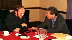 Joe Jackson (L) meets Leonard Cohen (R) in Dublin.