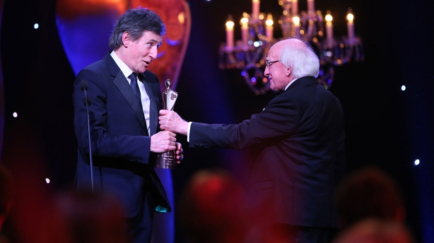 President Michael D Higgins and Gabriel Byrne at the IFTAS 2018
