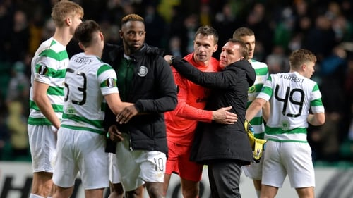 Brendan Rodgers congratulates his Celtic players after their victory over Zenit St Petersburg