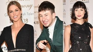 Amy Huberman, Barry Keoghan and Caitriona Balfe at the IFTA Awards in Dublin