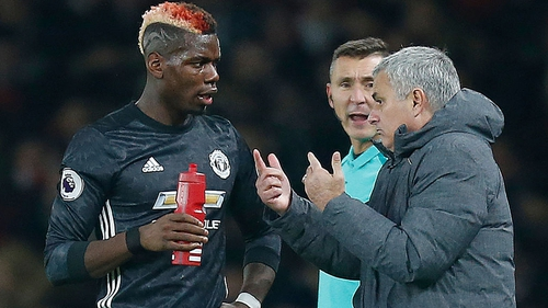 Pogba and Mourinho in conversation on the touchline
