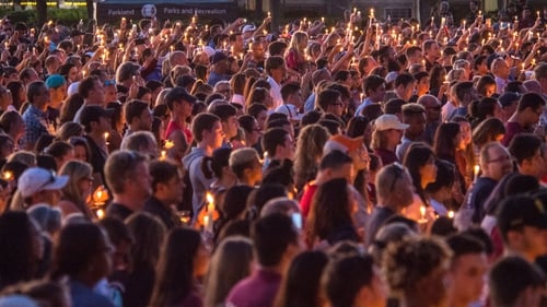 A vigil was held for the victims in Parkland last night