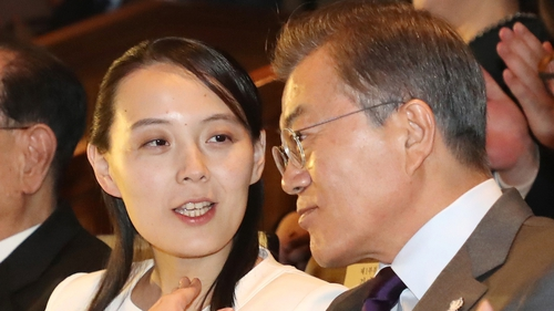 South Korean leader Moon-Jae-in alongside Kim Yo-jong, the sister of North Korean leader Kim Jong-un