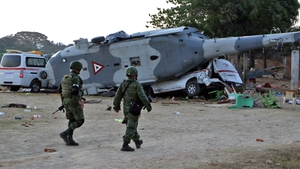 The military helicopter crashed near the quake epicentre in Oaxaca state
