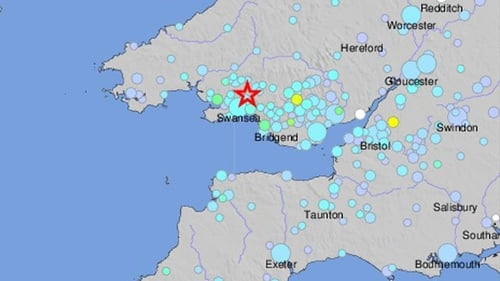 A US Geological Survey map shows the 4.4 magnitude earthquake in south Wales today