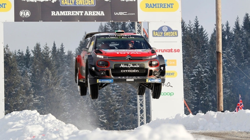 Craig Breen takes a jump at Rally Sweden