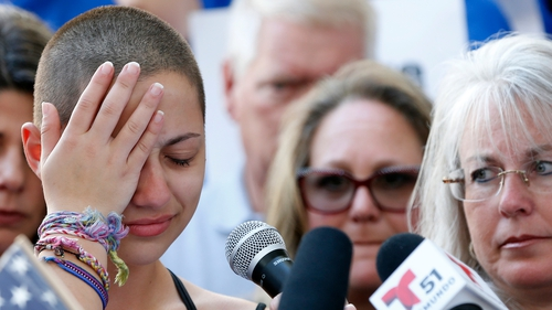 Student Emma Gonzalez at a rally for gun control in Fort Lauderdale, Florida, today