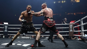 George Groves (R) connects with Chris Eubank JR