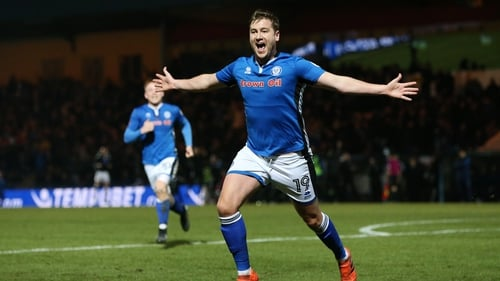 Steve Davies celebrates scoring an injury-time equaliser against Spurs in the FA Cup fifth round