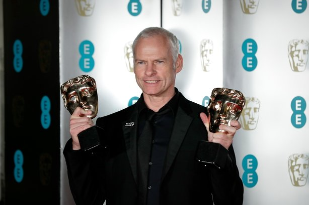 Martin McDonogh pictured with two of five BAFTAs for Three Billboards Outside Ebbing, Missouri
