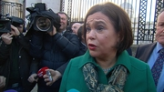 Mary Lou McDonald speaking to the media outside Government Buildings