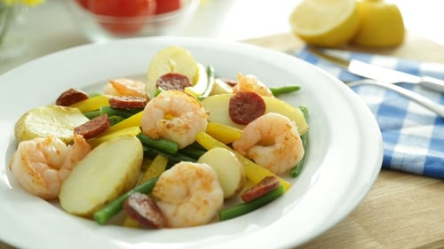 Pan Fried Prawns and Chorizo Potatoes