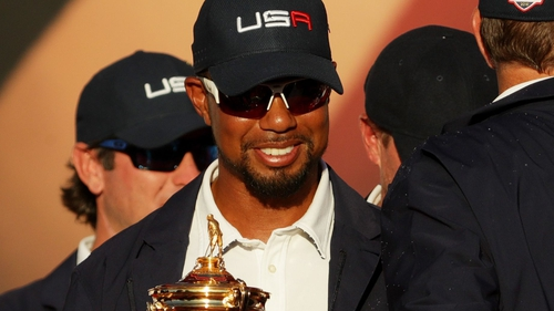 Woods with the Ryder Cup after the United States' win in 2016