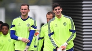Mitchell Beeney (l) with Chelsea first choice goalkeeper Thibaut Courtois
