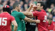 Mike Phillips and Rob Kearney getting close in the 2014 Six Nations encounter