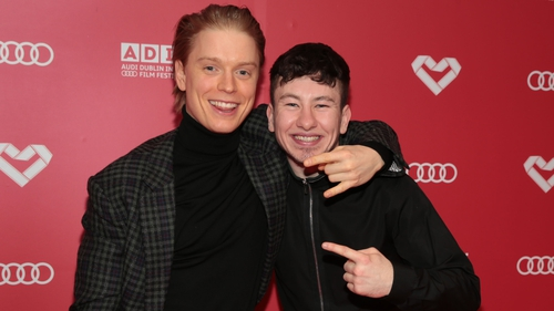Actors Freddie Fox and Barry Keoghan at the Irish premiere of Black 47 in Dublin