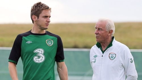 Kevin Doyle (L) with Giovanni Trapattoni back in 2012
