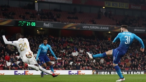 Sead Kolasinac of Arsenal scores  against Ostersunds