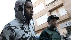 Ruben Semedo arrives to court escorted by a Spanish Guardia Civil