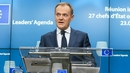European Council President Donald Tusk gave a statement to the media after the  meeting in Brussels