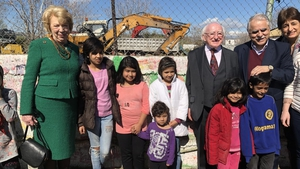 President Michael D Higgins and his wife Sabina visited Eleonas refugee camp today