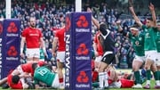 Ireland celebrate Dan Leavy's try