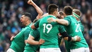 Ireland celebrate Jacob Stockdale's second try