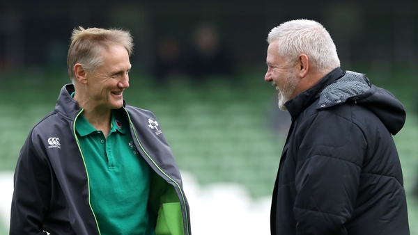 Joe Schmidt and Warren Gatland share a joke before the game