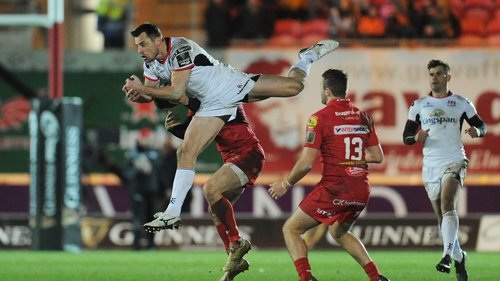 Ulster's Tommy Bowe competes for the high ball in tonight's clash with Scarlets