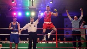 Kieran Molloy celebrates his win in the 69kg event