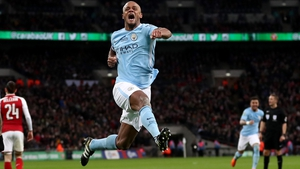 Vincent Kompany celebrates his goal for Manchester City