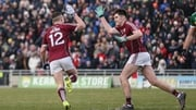 Eamonn Brannigan (l) celebrates scoring a goal with Barry McHugh