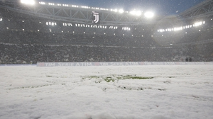 A snowy Allianz Stadium in Turin